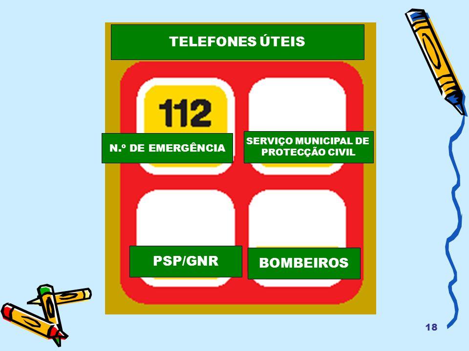 18 N.º DE EMERGÊNCIA SERVIÇO MUNICIPAL DE PROTECÇÃO CIVIL PSP/GNR BOMBEIROS TELEFONES ÚTEIS