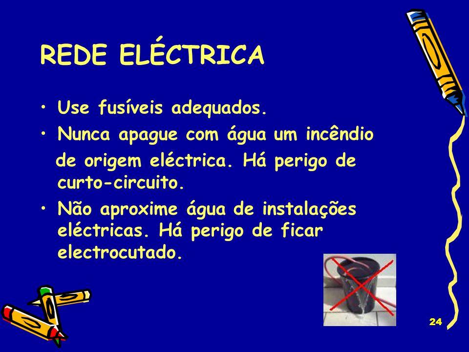 23 REDE ELÉCTRICA Não faça reparações improvisadas. Substitua os fios eléctricos em mau estado. Evite sobrecarga – não ligue demasiados aparelhos na m