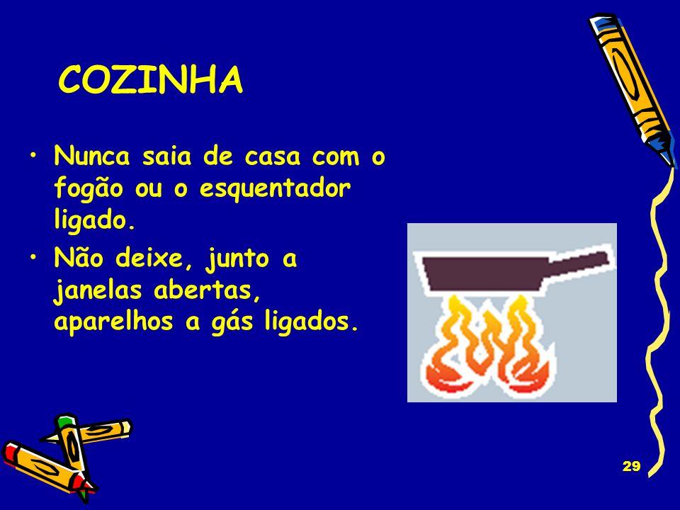 28 FONTES DE CALOR Proteja devidamente a lareira para que não se torne um foco de incêndio. Não abandone velas acesas ou mal apagadas. Nunca se esqueç