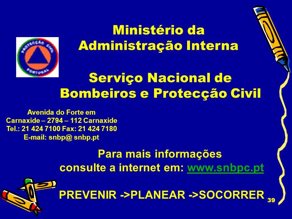 38 BOMBEIROS PSP/GNR SERVIÇO MUNICIPAL PROTECÇÃO CIVIL N.º DE EMERGÊNCIA