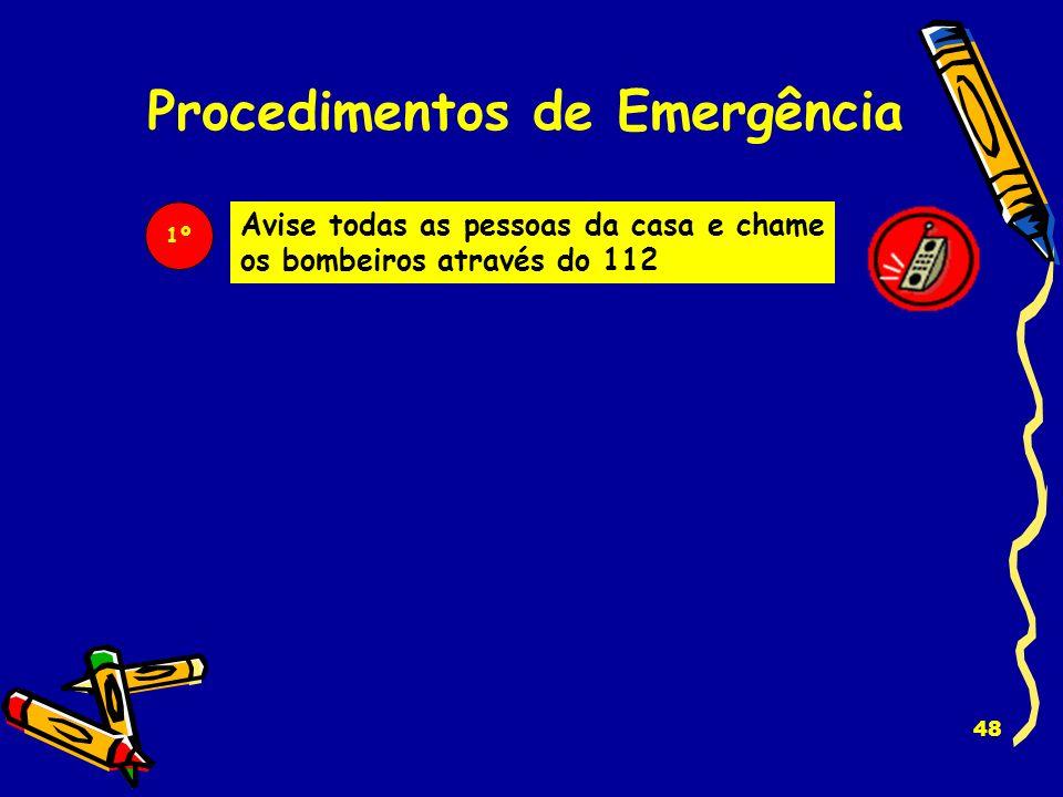 47 Procedimentos de Emergência Se lhe cheirar a fumo, vir chamas ou ouvir o crepitar do fogo, procure evitar o pânico e seguir as seguintes recomendaç