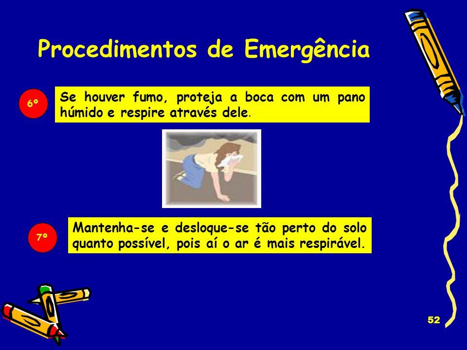 51 Se está num compartimento com a porta fechada: Procedimentos de Emergência 5º - Abra a janela para sair, pedir socorro ou respirar. - Se não vir fu