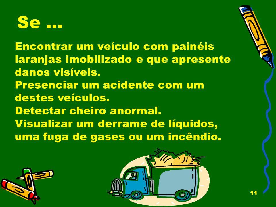 11 Se … Encontrar um veículo com painéis laranjas imobilizado e que apresente danos visíveis. Presenciar um acidente com um destes veículos. Detectar