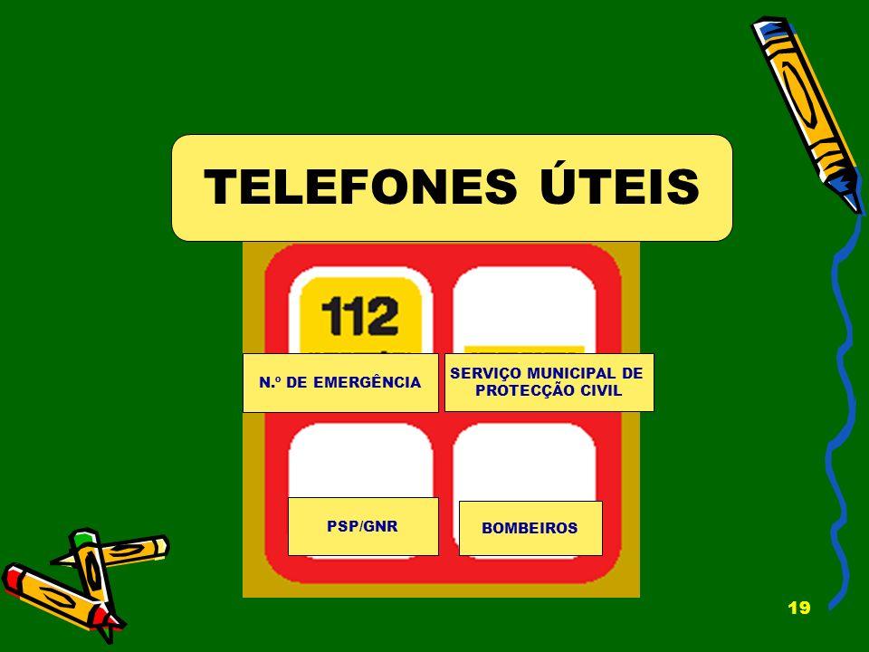 19 TELEFONES ÚTEIS N.º DE EMERGÊNCIA SERVIÇO MUNICIPAL DE PROTECÇÃO CIVIL PSP/GNR BOMBEIROS