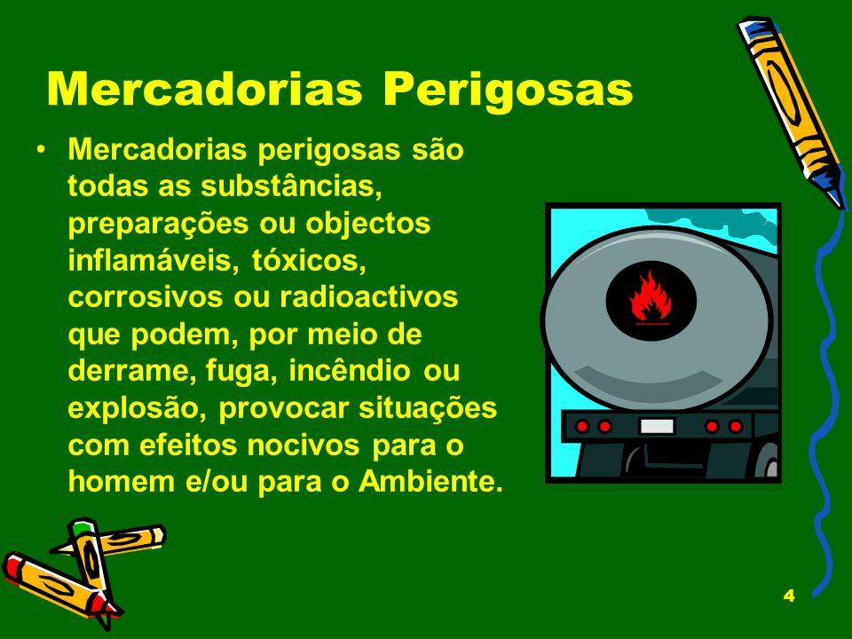 4 Mercadorias Perigosas Mercadorias perigosas são todas as substâncias, preparações ou objectos inflamáveis, tóxicos, corrosivos ou radioactivos que p