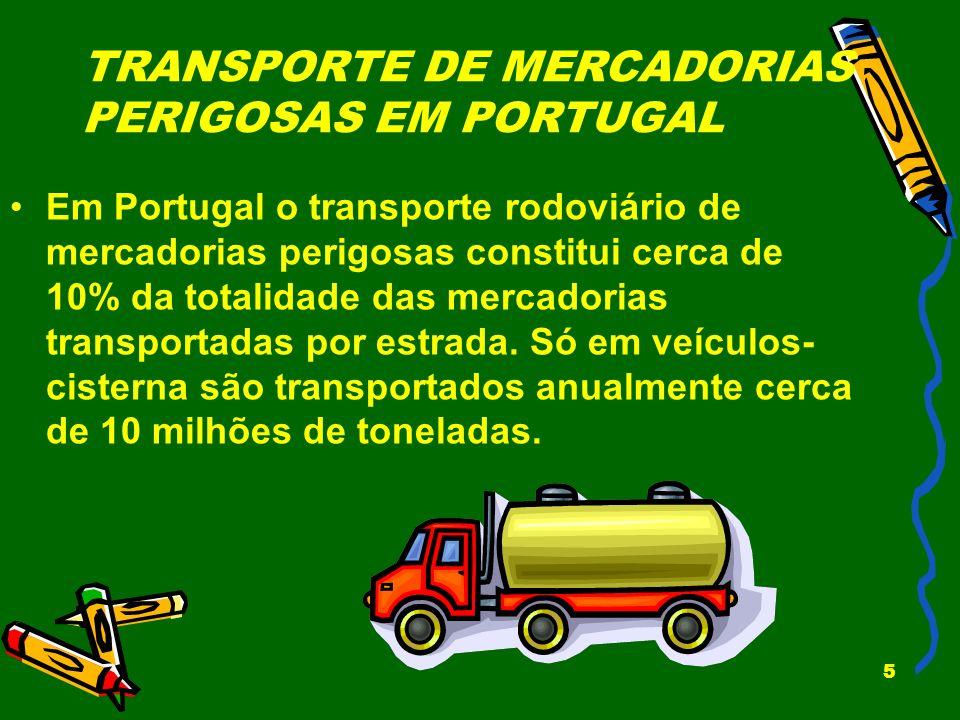 5 TRANSPORTE DE MERCADORIAS PERIGOSAS EM PORTUGAL Em Portugal o transporte rodoviário de mercadorias perigosas constitui cerca de 10% da totalidade da