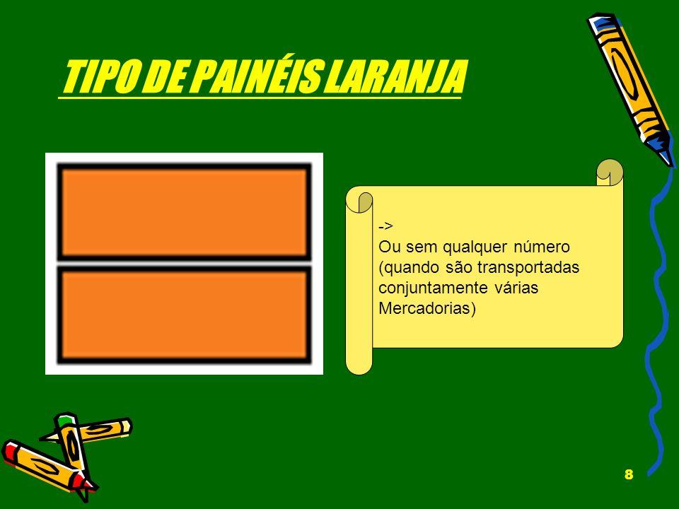 8 TIPO DE PAINÉIS LARANJA -> Ou sem qualquer número (quando são transportadas conjuntamente várias Mercadorias)