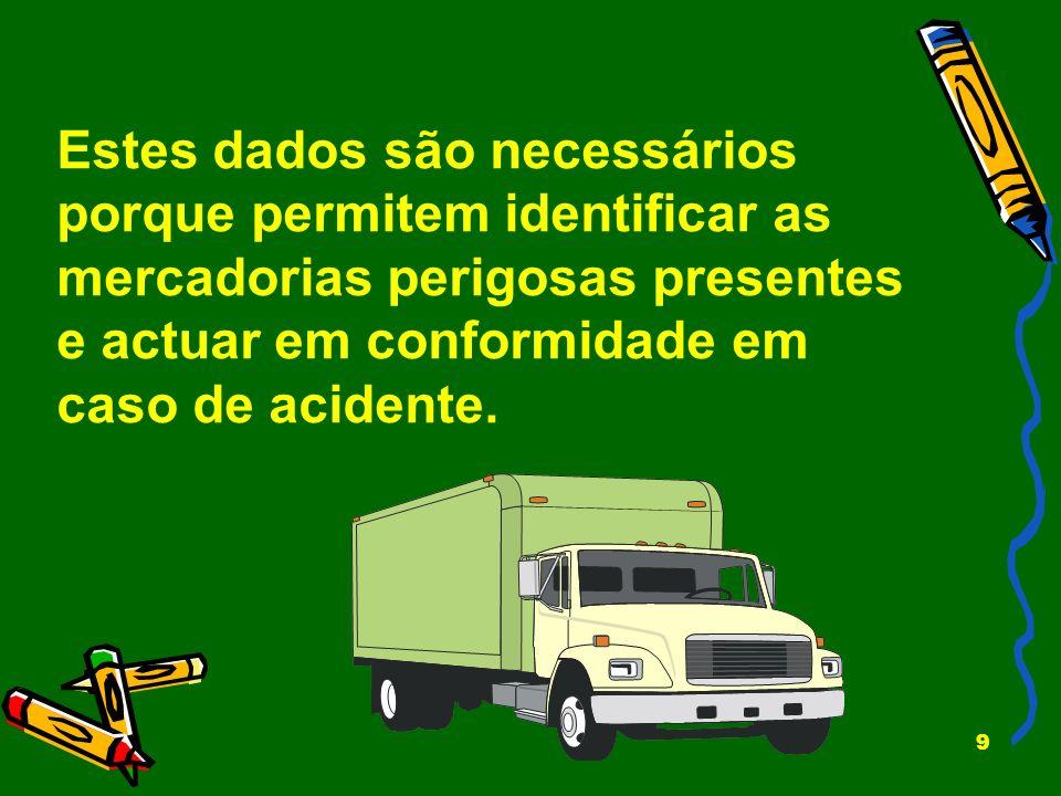 9 Estes dados são necessários porque permitem identificar as mercadorias perigosas presentes e actuar em conformidade em caso de acidente.