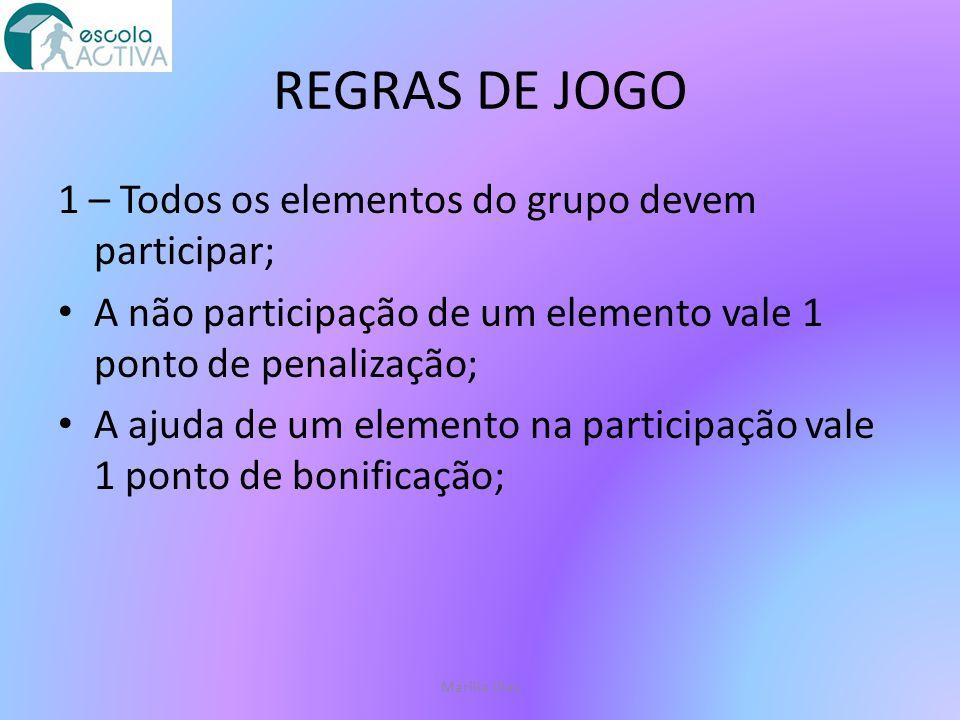 REGRAS DE JOGO 2 – A pontuação é atribuída às situações correctas; Cada situação certa no jogo vale 1 ponto; Marília Dias
