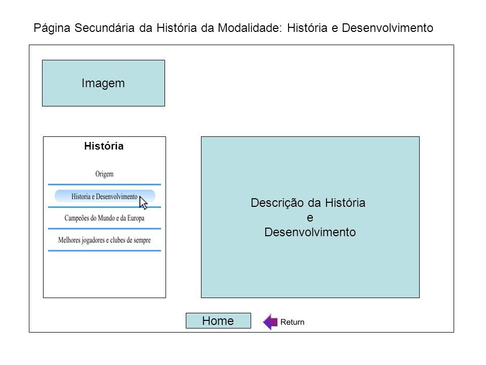 Página Secundária da História da Modalidade: História e Desenvolvimento Descrição da História e Desenvolvimento Home Descrição da História e Desenvolv