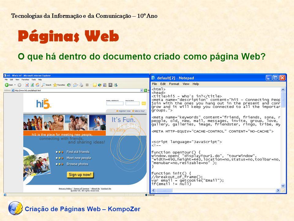 Páginas Web O que há dentro do documento criado como página Web? Linguagem de programação: HTML (Hypertext Markup Language) – 1993 outras. Como é cria