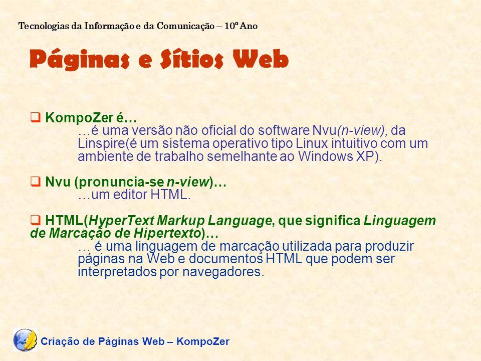 Páginas e Sítios Web KompoZer é… …é uma versão não oficial do software Nvu(n-view), da Linspire(é um sistema operativo tipo Linux intuitivo com um amb