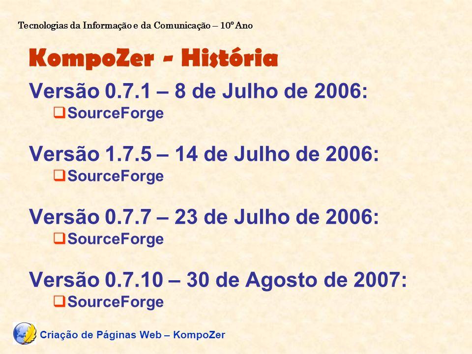 KompoZer - História Versão 0.7.1 – 8 de Julho de 2006: SourceForge Versão 1.7.5 – 14 de Julho de 2006: SourceForge Versão 0.7.7 – 23 de Julho de 2006: