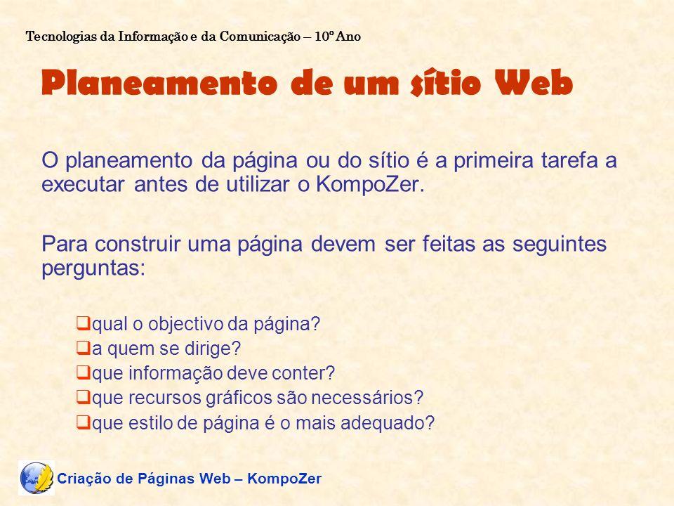 Planeamento de um sítio Web O planeamento da página ou do sítio é a primeira tarefa a executar antes de utilizar o KompoZer. Para construir uma página