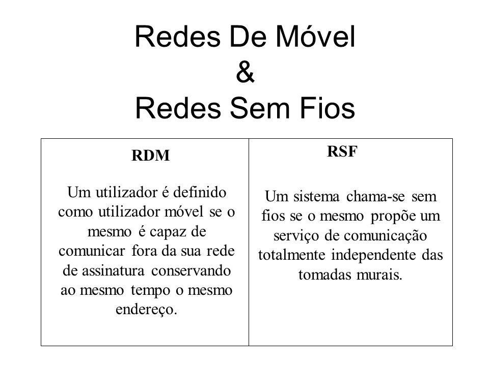 Redes De Móvel & Redes Sem Fios RDM RSF Um utilizador é definido como utilizador móvel se o mesmo é capaz de comunicar fora da sua rede de assinatura