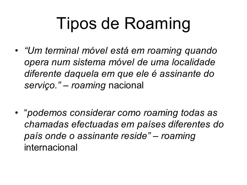 Tipos de Roaming Um terminal móvel está em roaming quando opera num sistema móvel de uma localidade diferente daquela em que ele é assinante do serviç