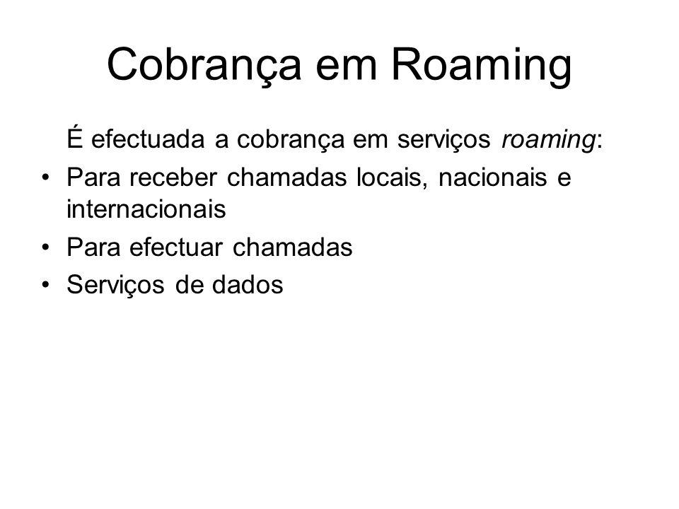 Cobrança em Roaming É efectuada a cobrança em serviços roaming: Para receber chamadas locais, nacionais e internacionais Para efectuar chamadas Serviç