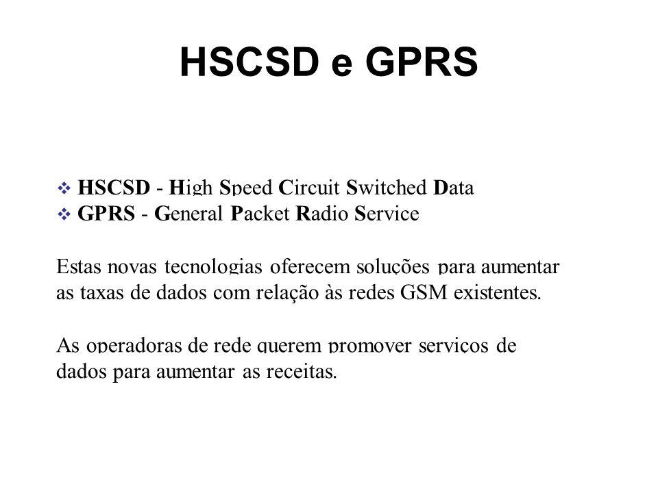 HSCSD e GPRS HSCSD - High Speed Circuit Switched Data GPRS - General Packet Radio Service Estas novas tecnologias oferecem soluções para aumentar as t