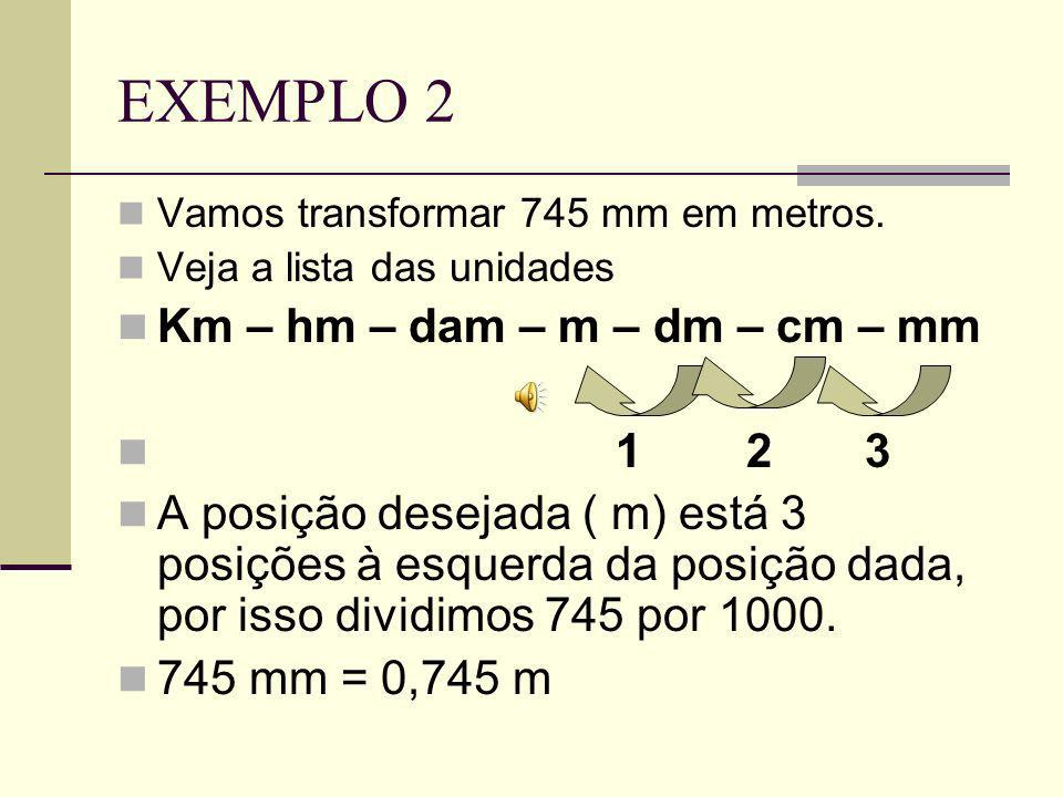 EXEMPLO 2 Vamos transformar 745 mm em metros.