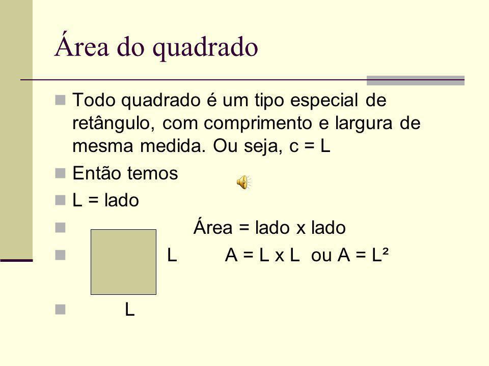 Área do quadrado Todo quadrado é um tipo especial de retângulo, com comprimento e largura de mesma medida.