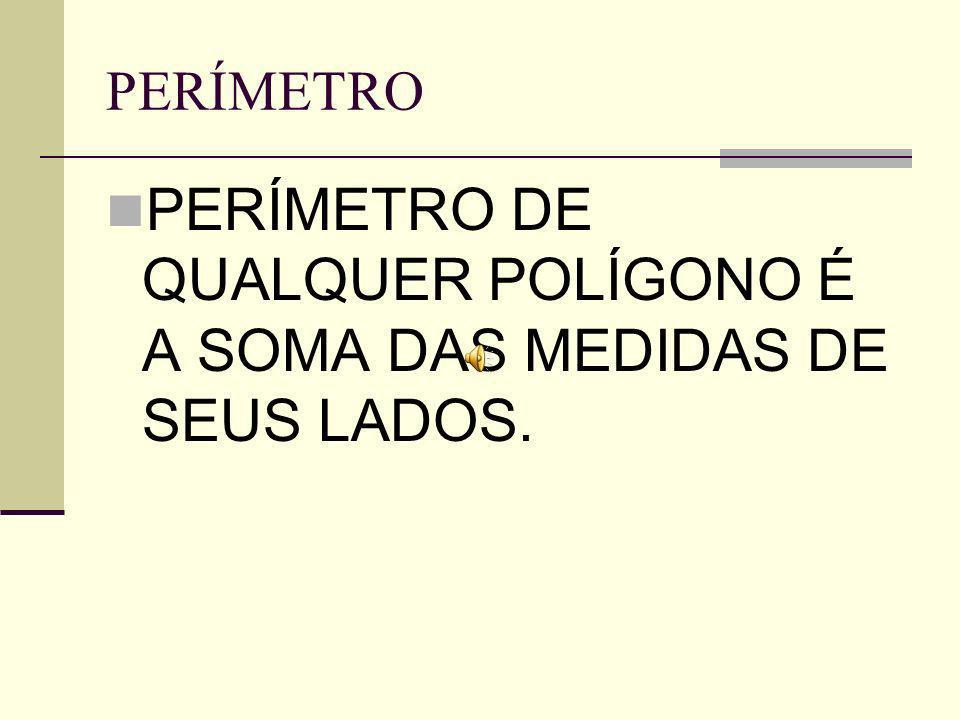 CÁLCULO DO PERÍMETRO Por exemplo: Calcular o perímetro deste pentágono: 5,5cm P=3 + 5,5+ 4+ 3,5+2,4 4cm P = 18,4 cm 3cm 3,5 cm 2,4cm
