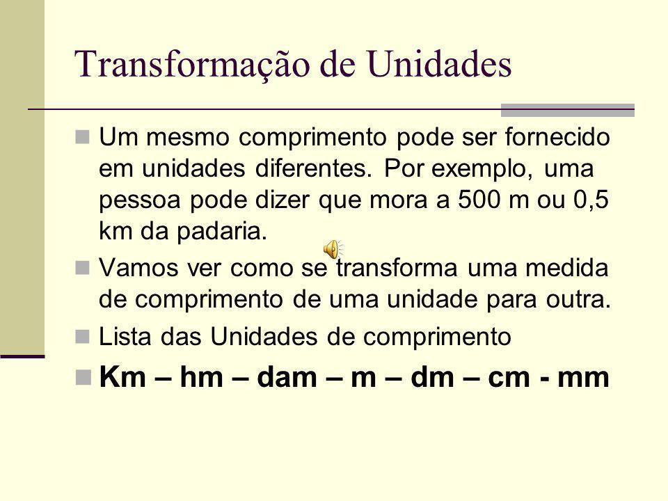 Transformação de Unidades Um mesmo comprimento pode ser fornecido em unidades diferentes.