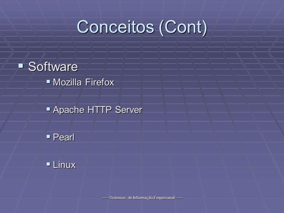 -------Sistemas de Informação Empresarial------- Conceitos (Cont) Software Software Mozilla Firefox Mozilla Firefox Apache HTTP Server Apache HTTP Server Pearl Pearl Linux Linux