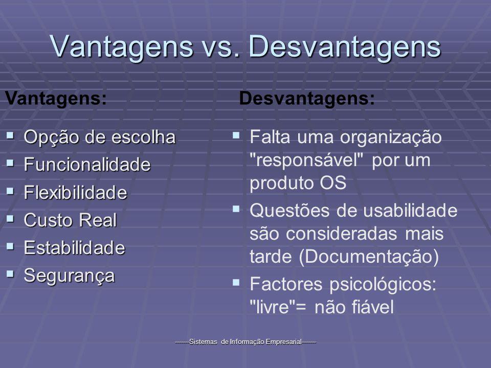 -------Sistemas de Informação Empresarial------- Vantagens vs. Desvantagens Opção de escolha Opção de escolha Funcionalidade Funcionalidade Flexibilid
