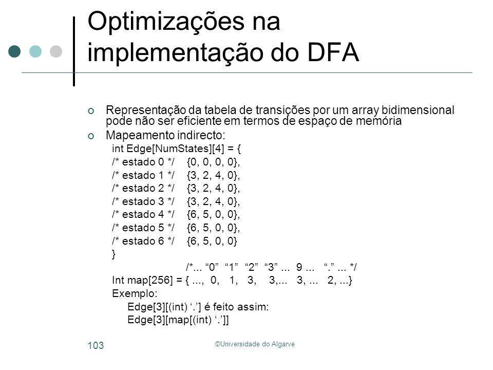 ©Universidade do Algarve 103 Optimizações na implementação do DFA Representação da tabela de transições por um array bidimensional pode não ser eficie