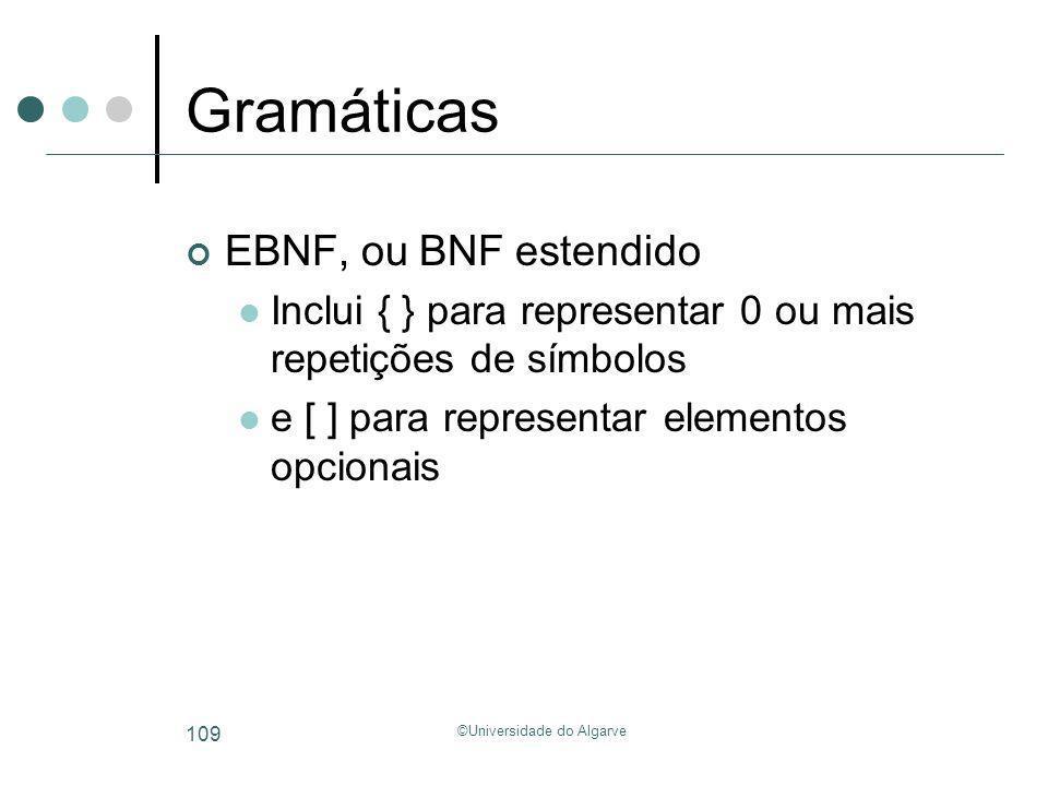 ©Universidade do Algarve 109 Gramáticas EBNF, ou BNF estendido Inclui { } para representar 0 ou mais repetições de símbolos e [ ] para representar ele