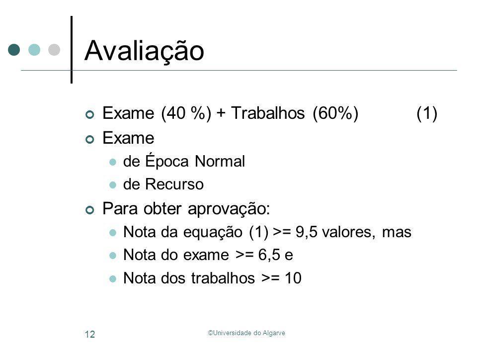 ©Universidade do Algarve 12 Avaliação Exame (40 %) + Trabalhos (60%) (1) Exame de Época Normal de Recurso Para obter aprovação: Nota da equação (1) >=