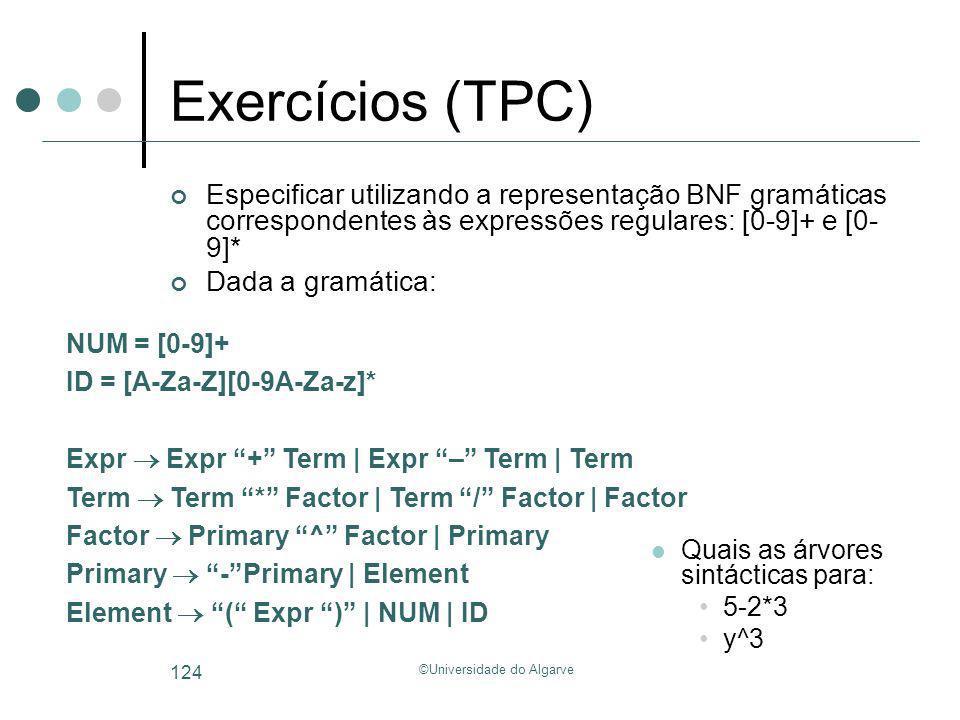 ©Universidade do Algarve 124 Exercícios (TPC) Especificar utilizando a representação BNF gramáticas correspondentes às expressões regulares: [0-9]+ e