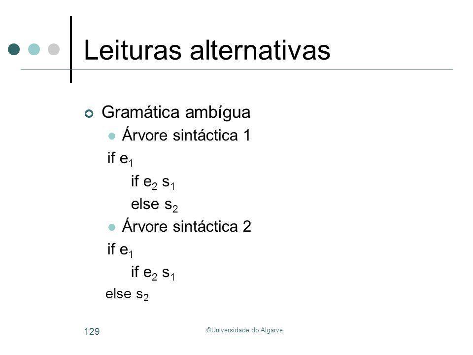 ©Universidade do Algarve 129 Leituras alternativas Gramática ambígua Árvore sintáctica 1 if e 1 if e 2 s 1 else s 2 Árvore sintáctica 2 if e 1 if e 2