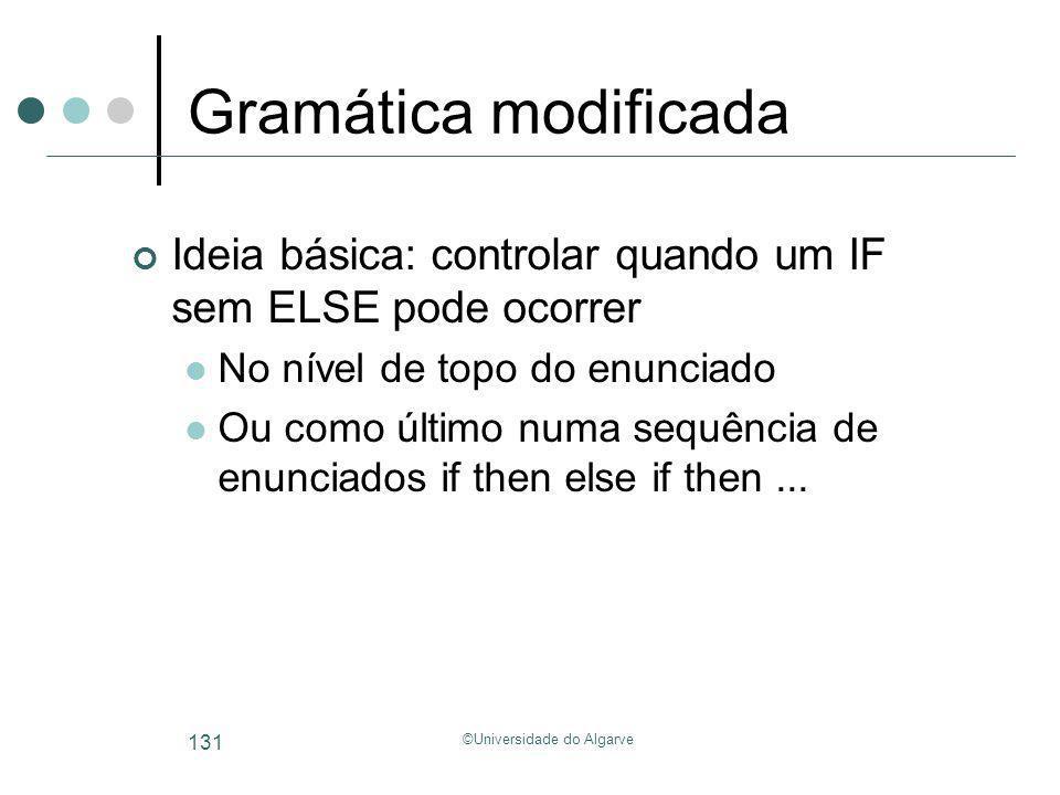 ©Universidade do Algarve 131 Gramática modificada Ideia básica: controlar quando um IF sem ELSE pode ocorrer No nível de topo do enunciado Ou como últ