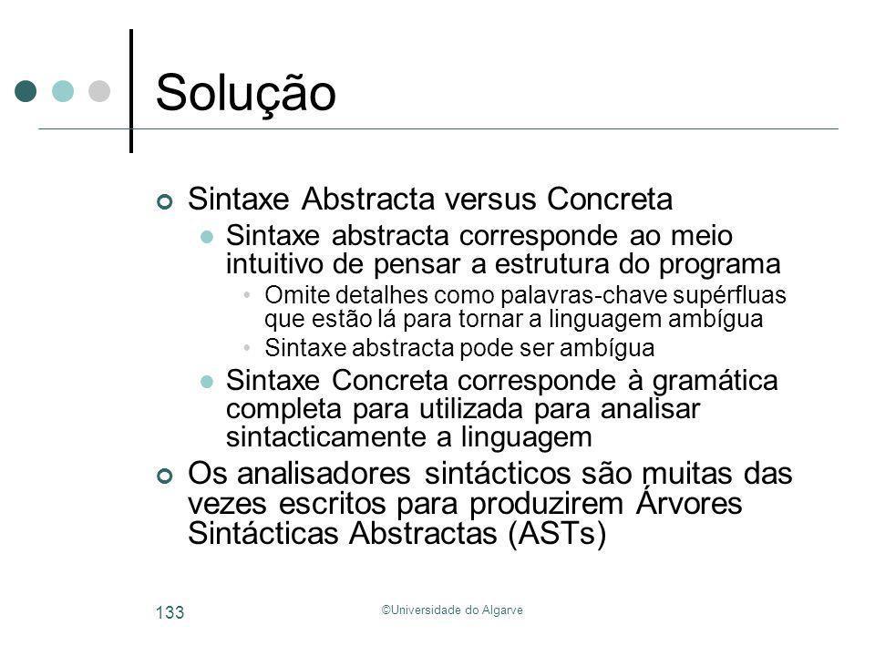 ©Universidade do Algarve 133 Solução Sintaxe Abstracta versus Concreta Sintaxe abstracta corresponde ao meio intuitivo de pensar a estrutura do progra