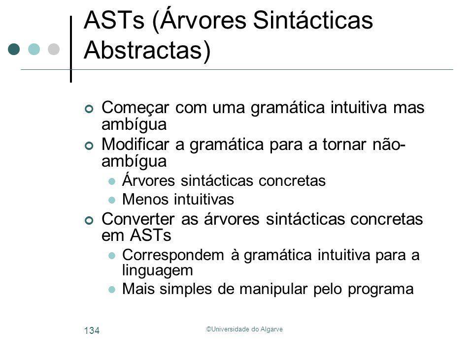 ©Universidade do Algarve 134 ASTs (Árvores Sintácticas Abstractas) Começar com uma gramática intuitiva mas ambígua Modificar a gramática para a tornar