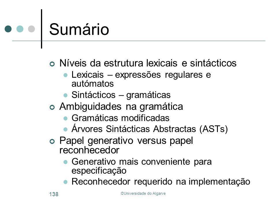 ©Universidade do Algarve 138 Sumário Níveis da estrutura lexicais e sintácticos Lexicais – expressões regulares e autómatos Sintácticos – gramáticas A