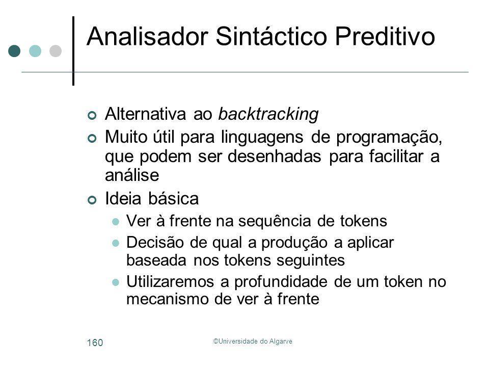 ©Universidade do Algarve 160 Analisador Sintáctico Preditivo Alternativa ao backtracking Muito útil para linguagens de programação, que podem ser dese
