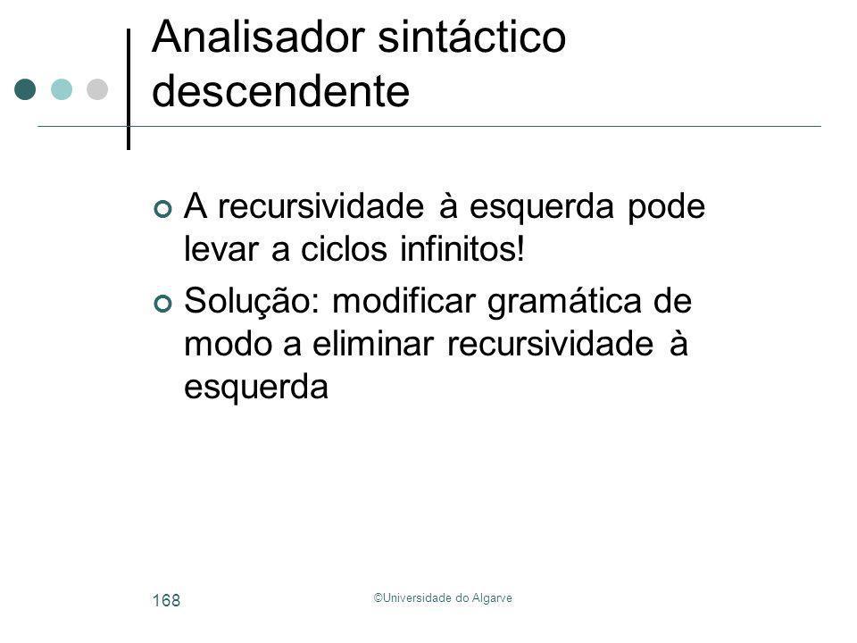 ©Universidade do Algarve 168 Analisador sintáctico descendente A recursividade à esquerda pode levar a ciclos infinitos! Solução: modificar gramática