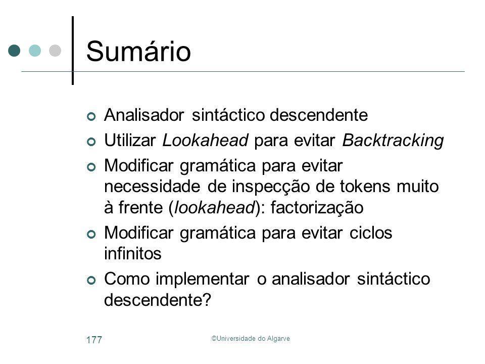 ©Universidade do Algarve 177 Sumário Analisador sintáctico descendente Utilizar Lookahead para evitar Backtracking Modificar gramática para evitar nec