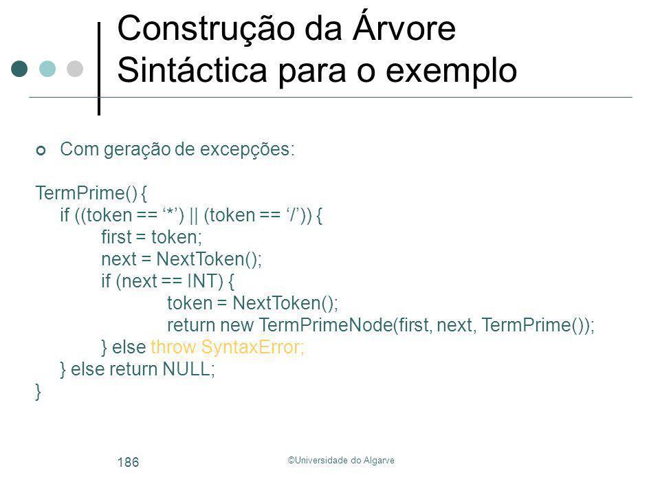 ©Universidade do Algarve 186 Construção da Árvore Sintáctica para o exemplo Com geração de excepções: TermPrime() { if ((token == *) || (token == /))