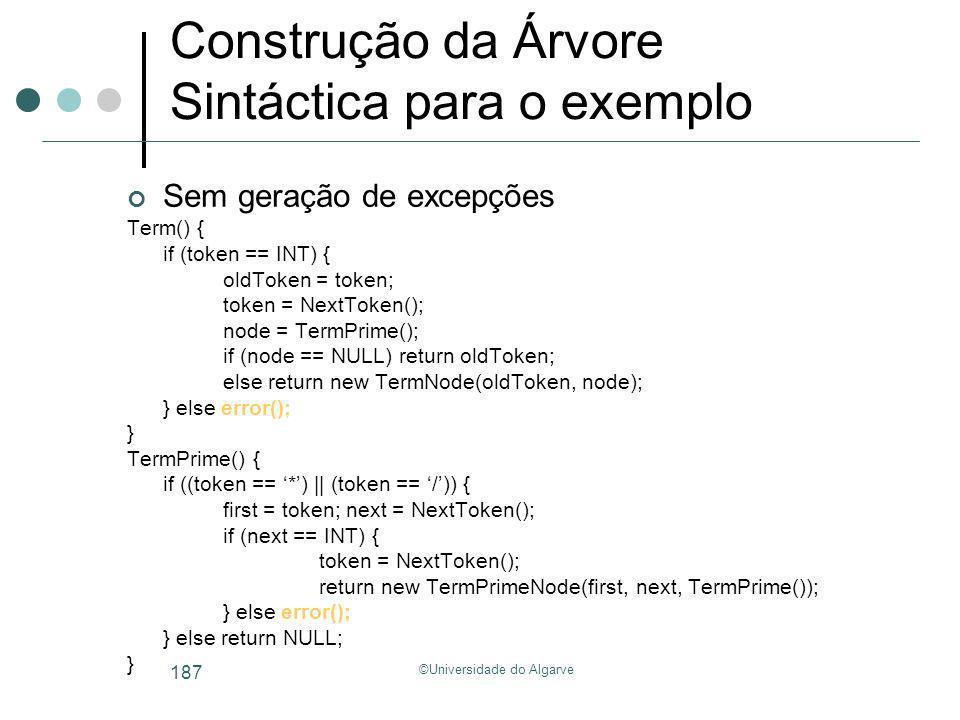 ©Universidade do Algarve 187 Construção da Árvore Sintáctica para o exemplo Sem geração de excepções Term() { if (token == INT) { oldToken = token; to