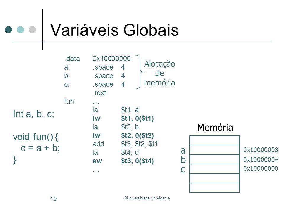 ©Universidade do Algarve 19 Variáveis Globais Int a, b, c; void fun() { c = a + b; }.data 0x10000000 a:.space4 b:.space4 c:.space4.text fun:… la$t1, a