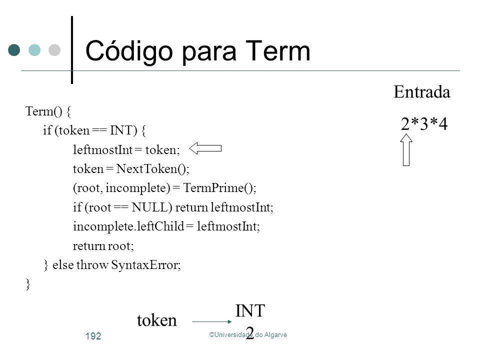 ©Universidade do Algarve 192 Código para Term INT 2 token 2*3*4 Entrada Term() { if (token == INT) { leftmostInt = token; token = NextToken(); (root,