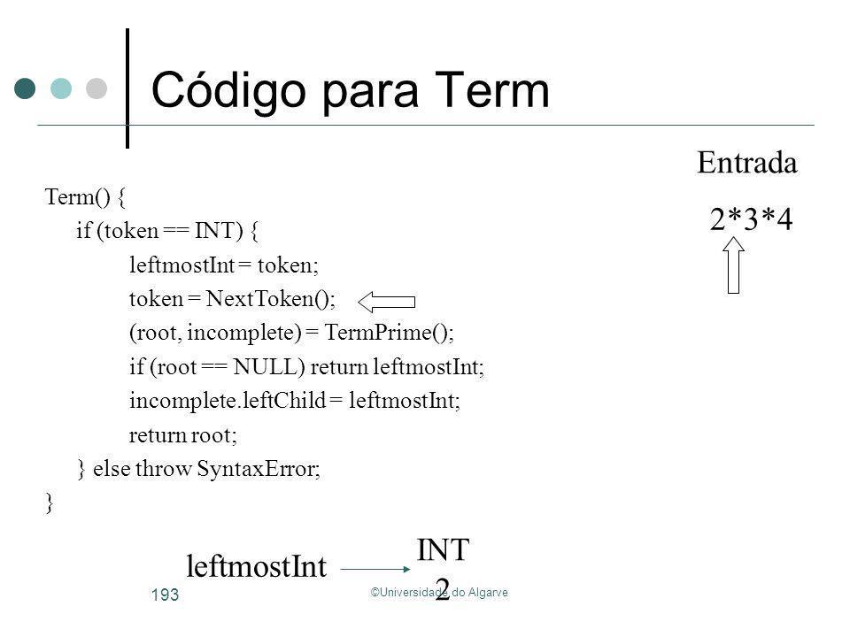 ©Universidade do Algarve 193 Código para Term INT 2 leftmostInt 2*3*4 Entrada Term() { if (token == INT) { leftmostInt = token; token = NextToken(); (