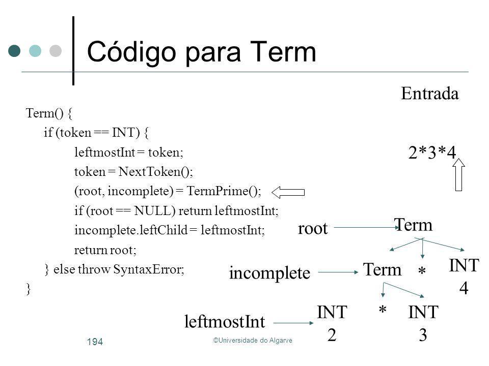 ©Universidade do Algarve 194 Código para Term Term INT 3 * Term INT 4 * INT 2 root incomplete leftmostInt 2*3*4 Entrada Term() { if (token == INT) { l