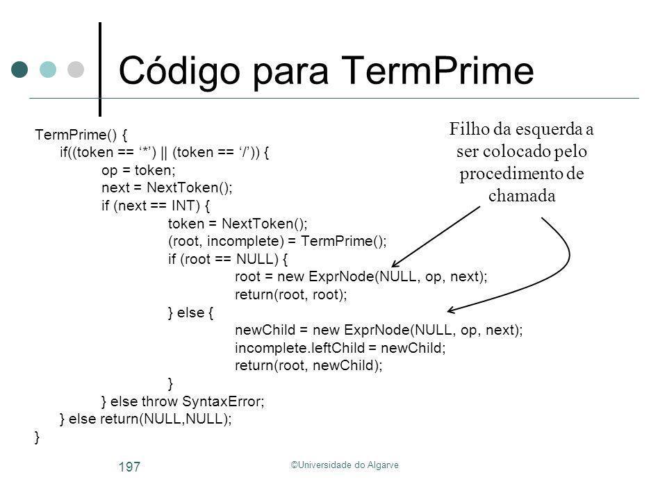 ©Universidade do Algarve 197 Código para TermPrime TermPrime() { if((token == *) || (token == /)) { op = token; next = NextToken(); if (next == INT) {