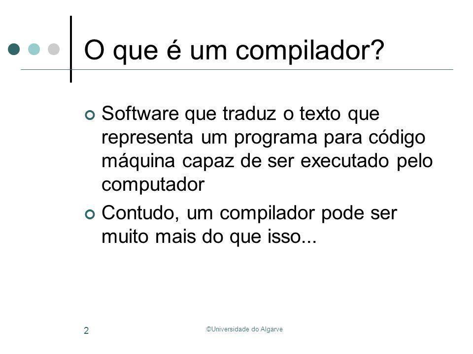 ©Universidade do Algarve 43 Análise Lexical /* uma expressão simples */ y = b*x +c; // atribui a y ID(y) EQ ID(b) TIMES ID(x) PLUS ID(c) SEMICOLON EOF Lexical Analyzer (Scanner)