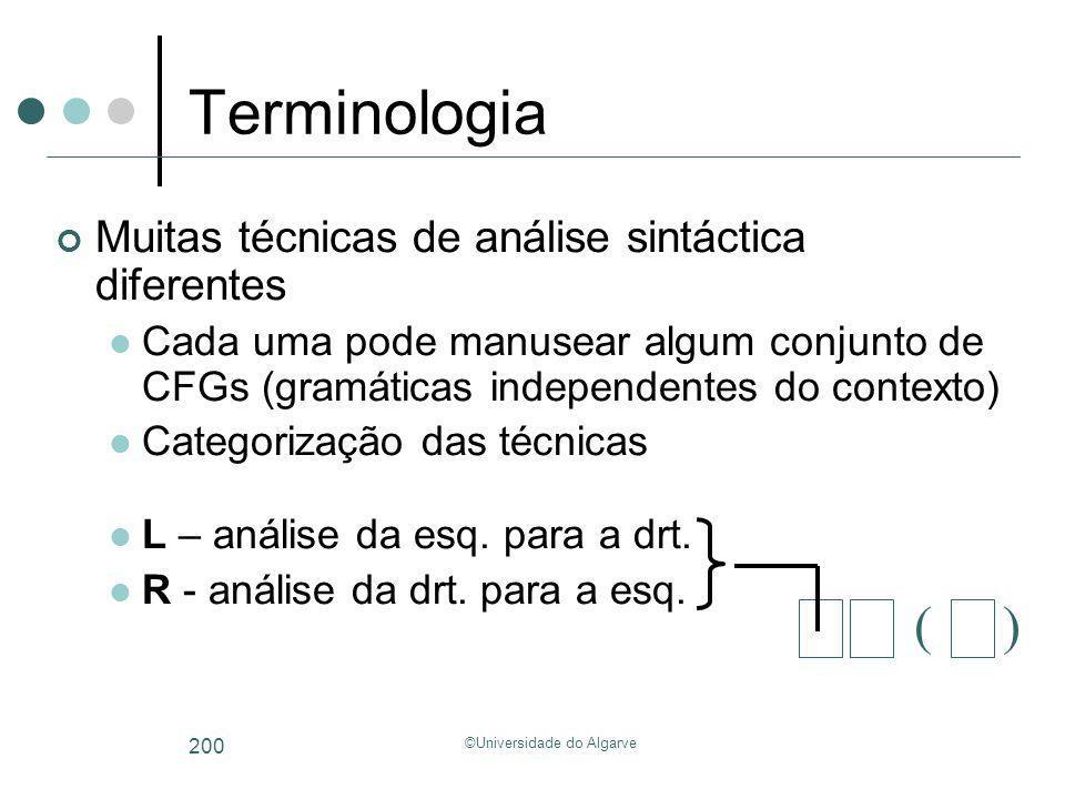 ©Universidade do Algarve 200 Terminologia Muitas técnicas de análise sintáctica diferentes Cada uma pode manusear algum conjunto de CFGs (gramáticas i