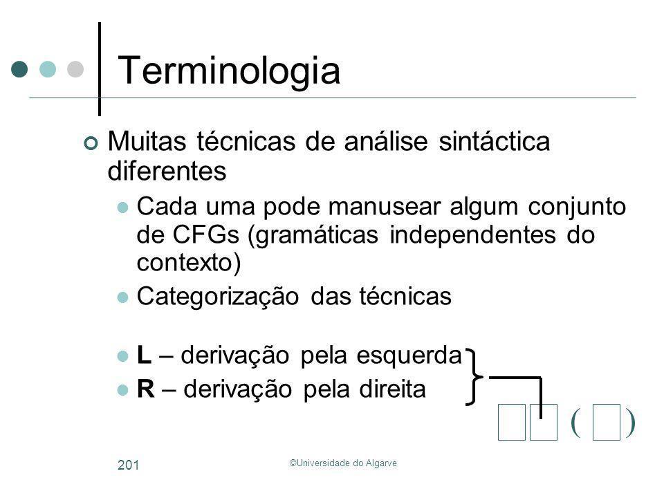 ©Universidade do Algarve 201 Terminologia Muitas técnicas de análise sintáctica diferentes Cada uma pode manusear algum conjunto de CFGs (gramáticas i